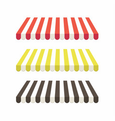 Set of colorful striped awnings for shop vector