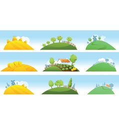 Set of farm landscapes vector