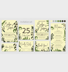 set of wedding invitations floral invitations vector image