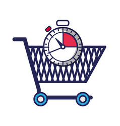 shopping car and chronometer time object vector image