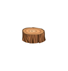 sign and icon a round brown forest stump with vector image