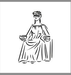 sitting symbol of justice themis line art vector image