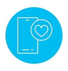 Smartphone with heart sign line icon vector image