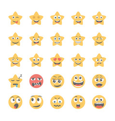 Smiley flat icons set 42 vector