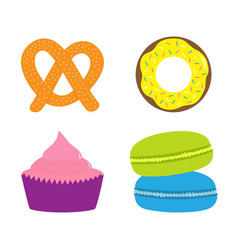soft pretzel donut cupcake macaron or macaroon vector image