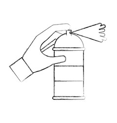 spray canister in hand creative vector image