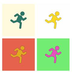 Sprinter icon man run silhouette collection vector