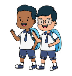 students boys with backpack back to school vector image