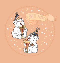 Sweet party card with two cute bears vector