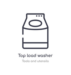 Top load washer outline icon isolated line from vector
