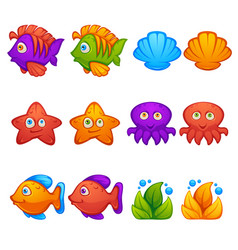 Underwater world fish stars octopus bubble vector