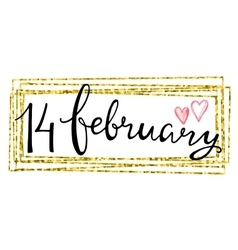 Valentines Day Card lettering 14 february vector image