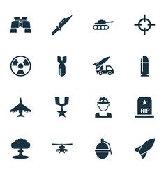 Warfare icons set collection of dangerous vector