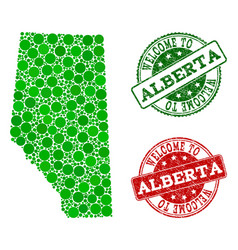 Welcome collage of map of alberta province and vector