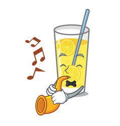 With trumpet lemonade mascot cartoon style vector