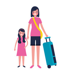 Woman and girl with travel suitcase vector