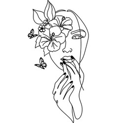 Woman face with butterfly line art female hands vector