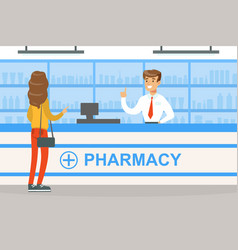 Woman standing behind counter in pharmacy man vector