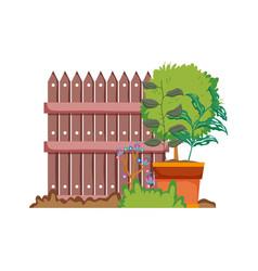 wooden fence with garden flowers scene vector image