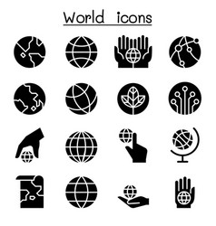 world earth icon set vector image