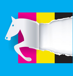 paper horse ripping paper with print colors vector image vector image