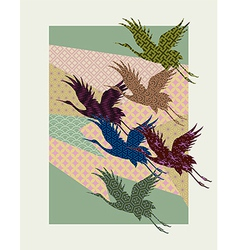 Silhouettes of Japanese cranes filled with vector image vector image