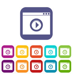 video player icons set vector image