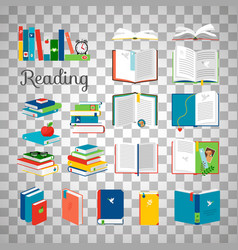 books and stacks on transparent background vector image