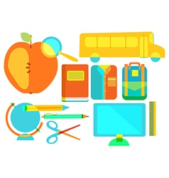 Color school icon collection vector image