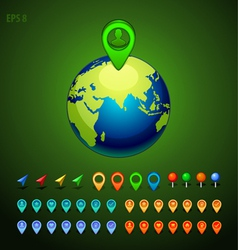 green earth with a pins set vector image