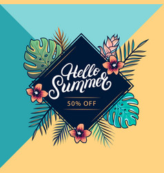 hello summer sale colorful banner vector image vector image