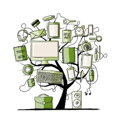 Art tree with digital office devices for your vector image vector image