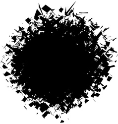exploded futuristic round shape in black on white vector image