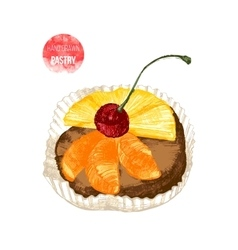 Hand drawn pastry with cherry vector image vector image