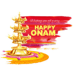 Happy Onam background with rangoli and lamp vector image vector image
