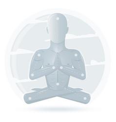 meditation man isolated on white background vector image