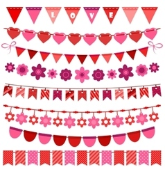 Pink and red bunting and garland set vector image vector image