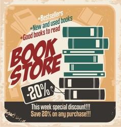 Retro bookstore poster design vector image vector image