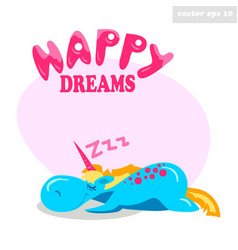 unny sleeping unicorn vector image vector image