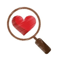Drawing heart love loupe search icon vector