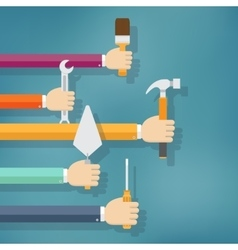 Hands holding housework and repair tools vector image vector image