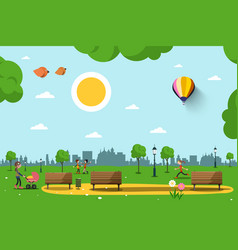 park with benches people and city skyline vector image
