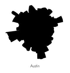 Planet Austin circular silhouette skyline vector image