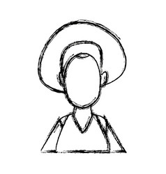 portrait woman young cartoon faceless people vector image
