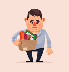 sad unhappy office worker character fired vector image