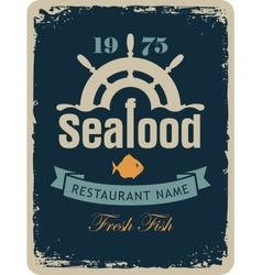 seafood restaurant with a ship helm vector image vector image