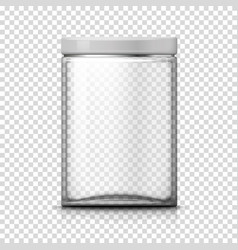 3d realistic big transparent glass jar vector