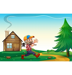 A happy lumberjack carrying an axe while walking vector