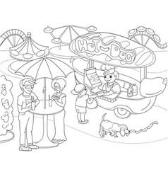 amusement park coloring pages for children hot vector image
