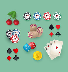 big set collection of casino gambling symbols vector image